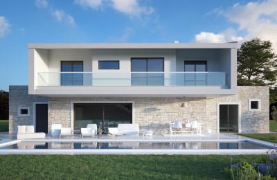 Porec, modern villa under construction with a pool and beautiful sea view